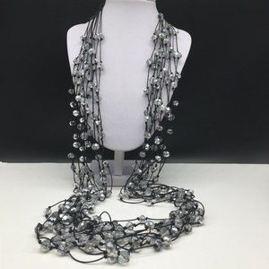 Chico's Black Silver Crystal Glass Beaded Necklace